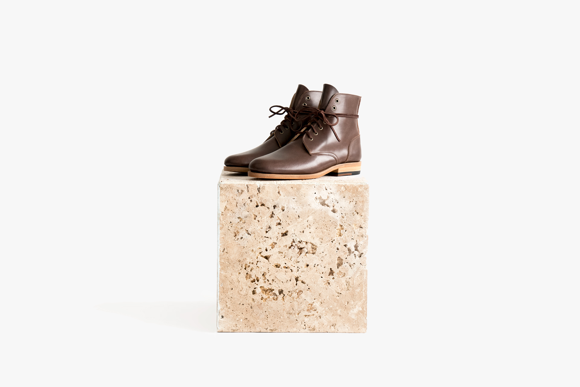 Marble box boot cognac brown lace up premium