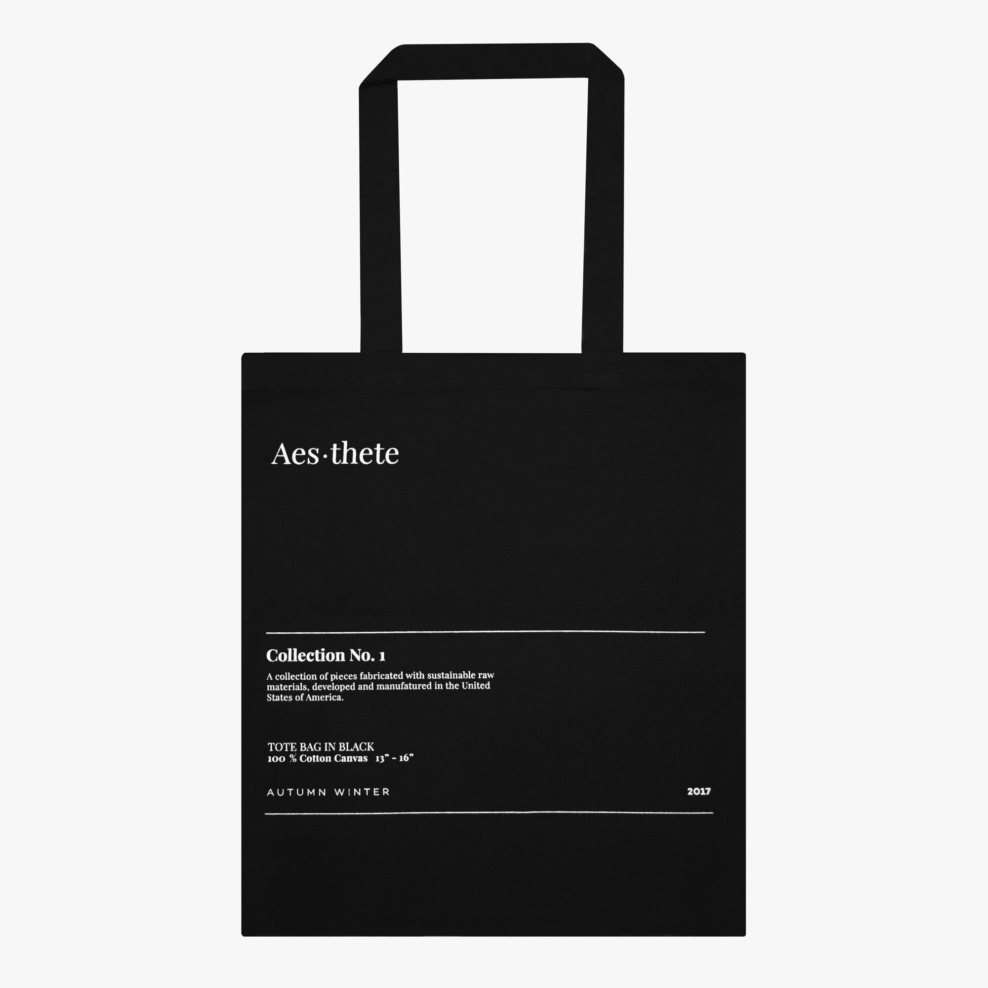 Black tote bag text minimal basic quality premium