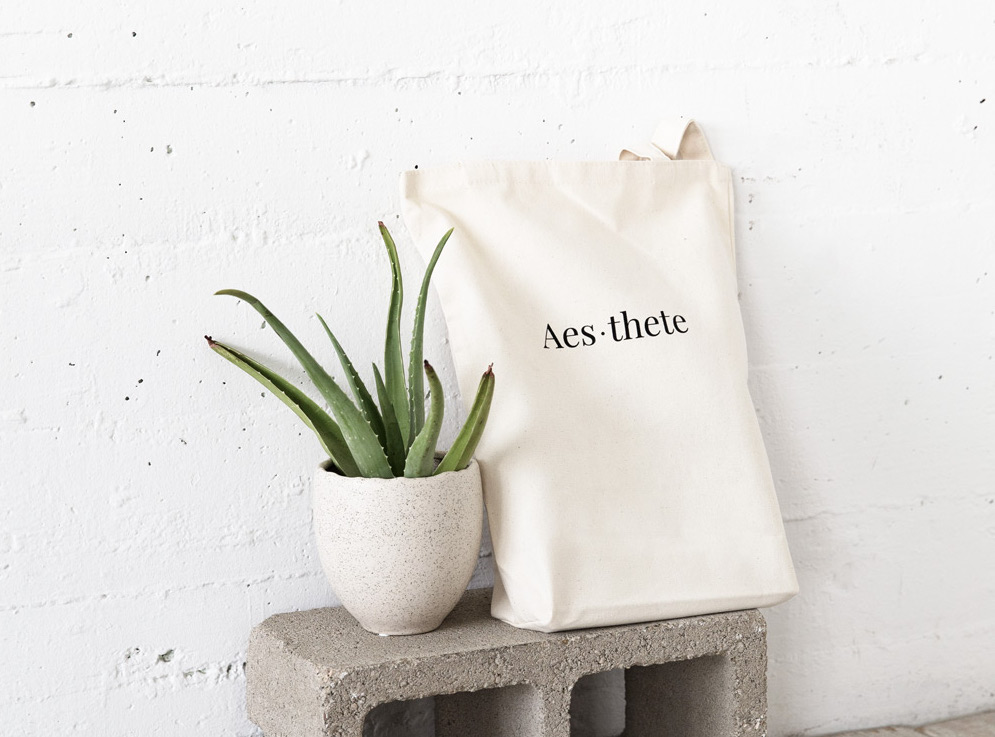 Premium organic cotton tote bag thick canvas cactus