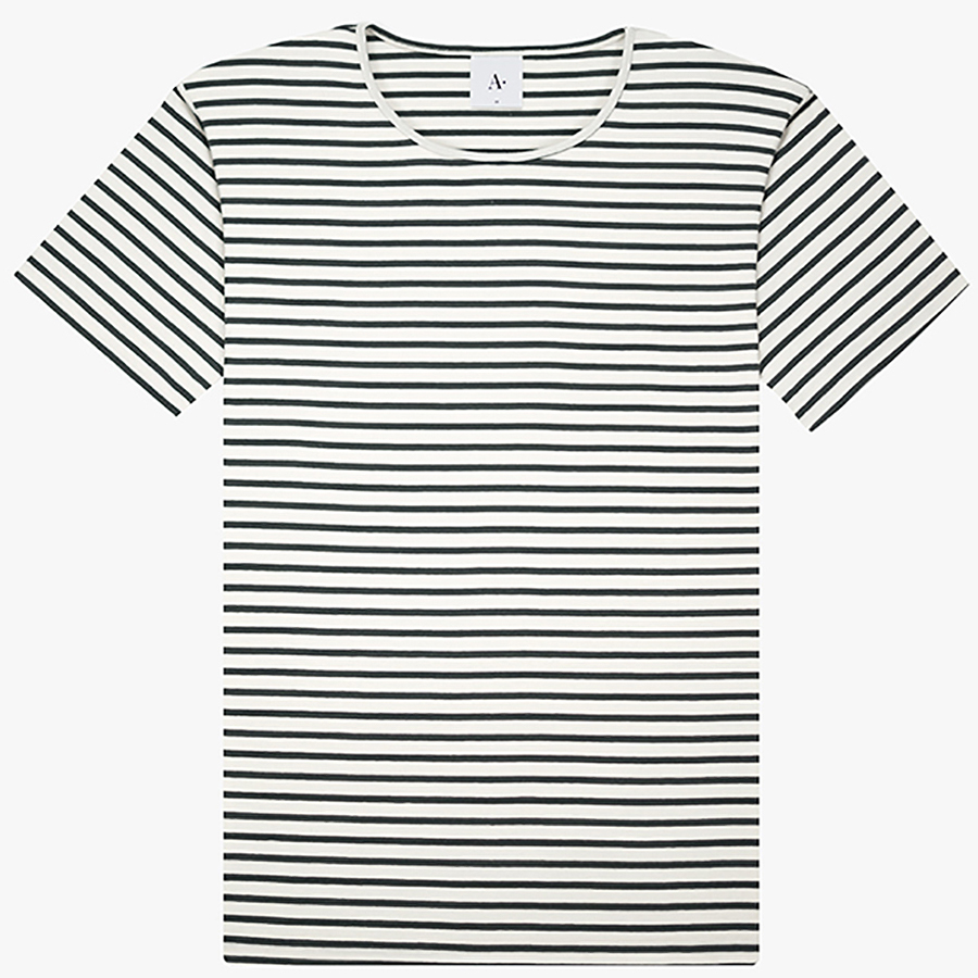 Striped Organic Cotton Matching Collar Neck Line