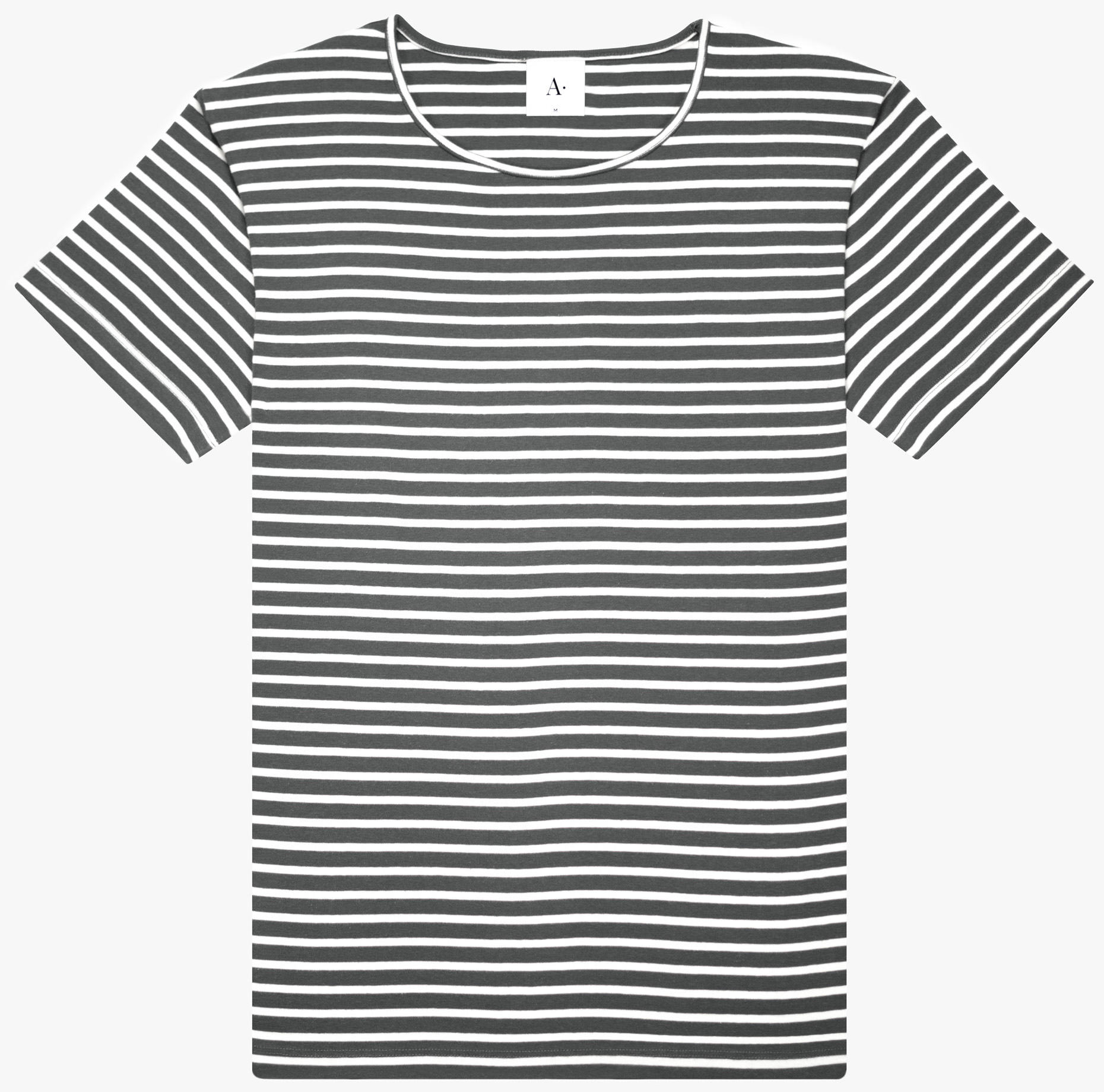 Nautical stripe matching charcoal base cotton Organic